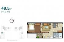 Cho thuê căn hộ 48m2 1 phòng ngủ Lexington block A tầng cao thiết kế đẹp và ấm cúng