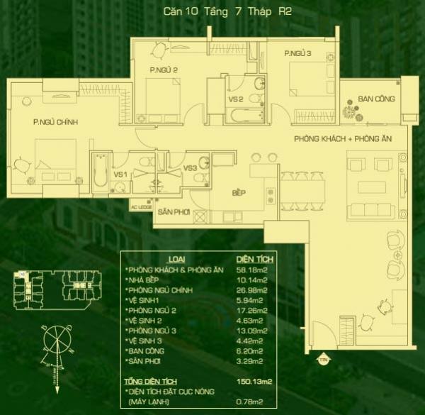 Bán căn hộ The EverRich 3 phòng ngủ view trường đua
